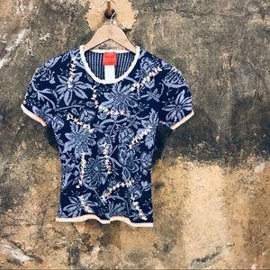 Bazar de Christian Lacroix blue knit floral top